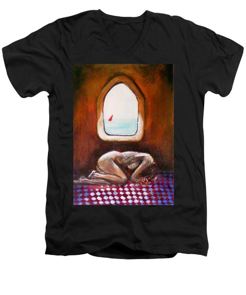 Men's V-Neck T-Shirt featuring the painting Girl At The Beach by Winsome Gunning