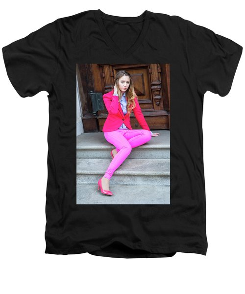 Girl Dressing In Pink Men's V-Neck T-Shirt