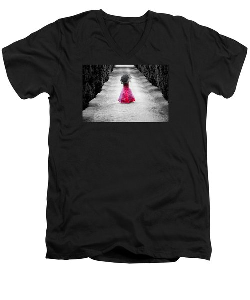 Girl In A Red Dress Men's V-Neck T-Shirt by Helen Northcott