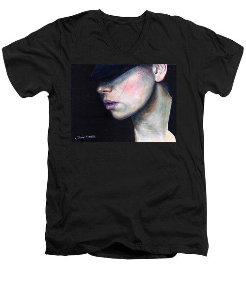 Girl In Black Hat Men's V-Neck T-Shirt