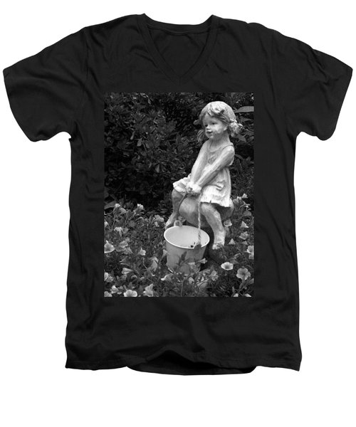 Men's V-Neck T-Shirt featuring the photograph Girl On A Mushroom by Sandi OReilly