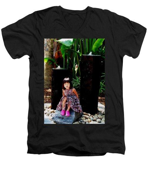 Girl On Rocks Men's V-Neck T-Shirt