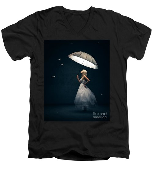 Girl With Umbrella And Falling Feathers Men's V-Neck T-Shirt by Johan Swanepoel
