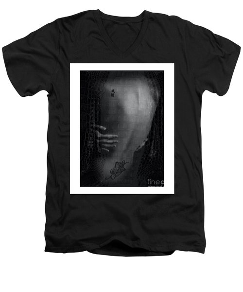 Girl's Back With Tattoo. Studio Shot Men's V-Neck T-Shirt by Michael Edwards