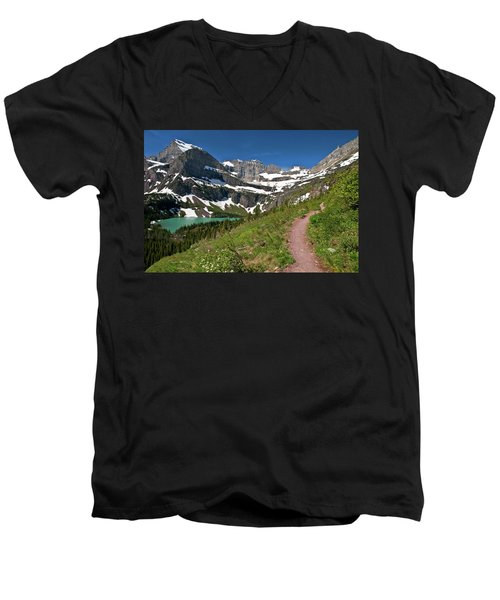 Men's V-Neck T-Shirt featuring the photograph Glacier Backcountry Trail by Gary Lengyel