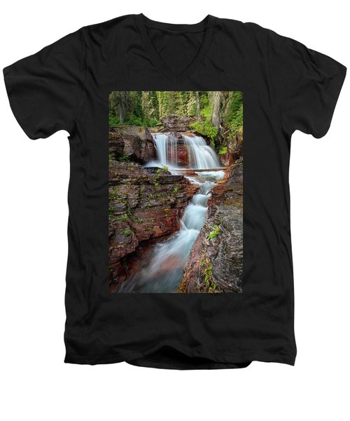 Glacier National Park Waterfall 2 Men's V-Neck T-Shirt by Andres Leon