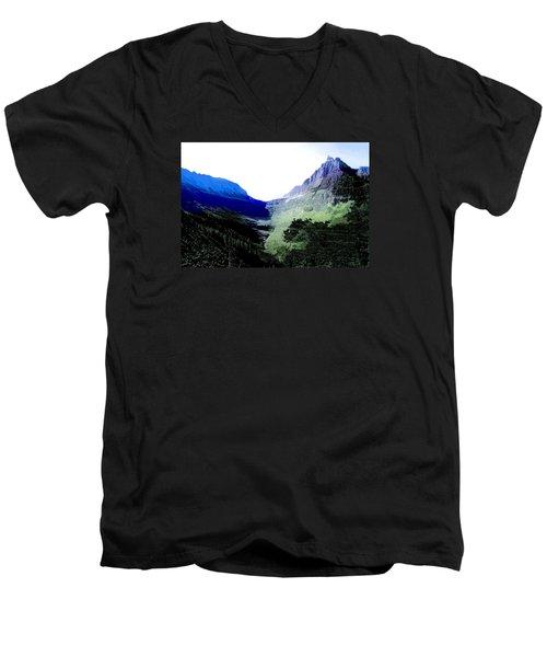 Men's V-Neck T-Shirt featuring the photograph Glacier Park Simplified by Susan Crossman Buscho