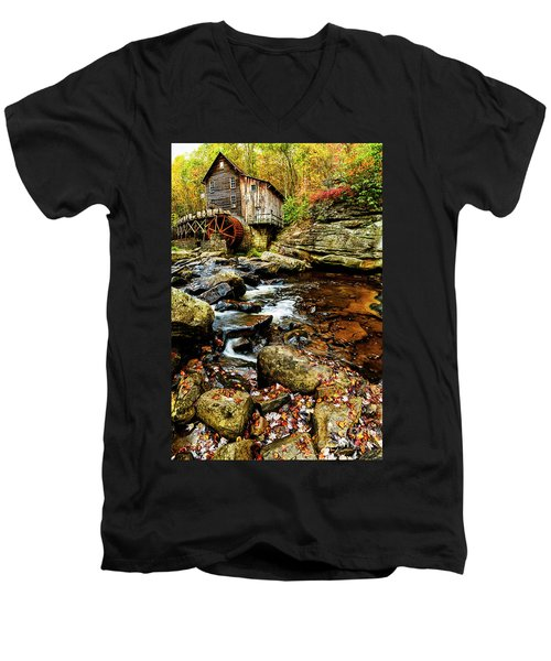 Glade Creek Grist Mill Fall  Men's V-Neck T-Shirt