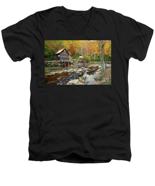 Glade Creek Grist Mill In Autumn Men's V-Neck T-Shirt