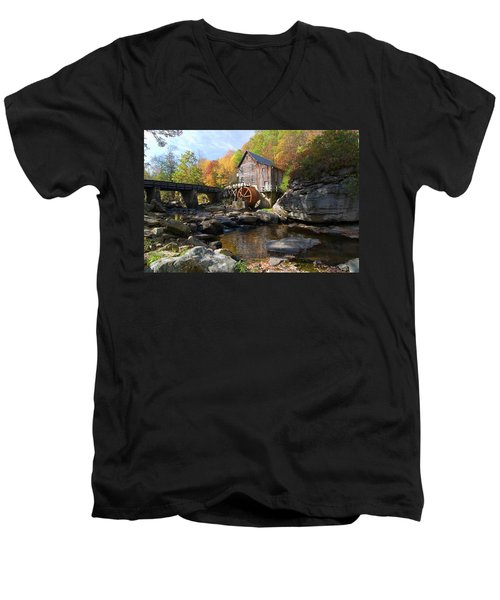 Men's V-Neck T-Shirt featuring the photograph Glade Creek Grist Mill by Steve Stuller