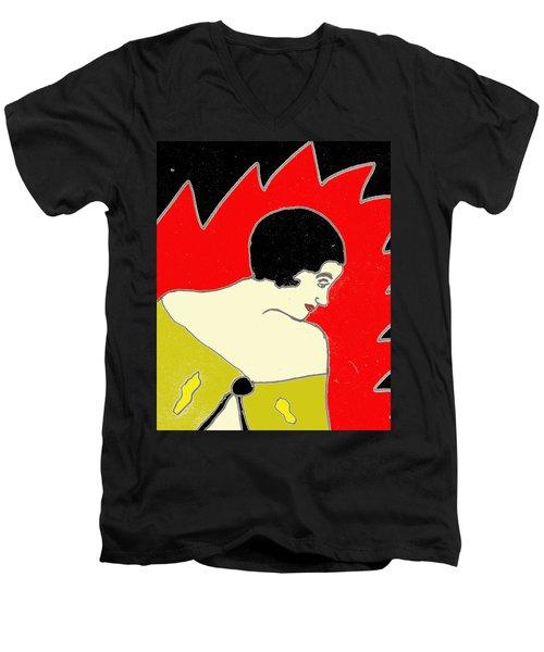 Glancing Down Men's V-Neck T-Shirt