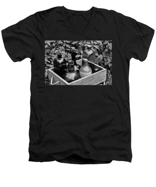 Glass Bottles In The Garden Men's V-Neck T-Shirt