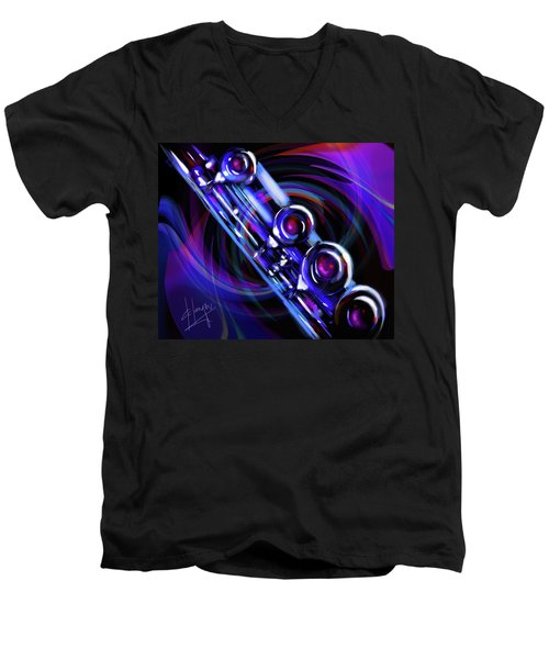 Men's V-Neck T-Shirt featuring the painting Glassical Flute by DC Langer