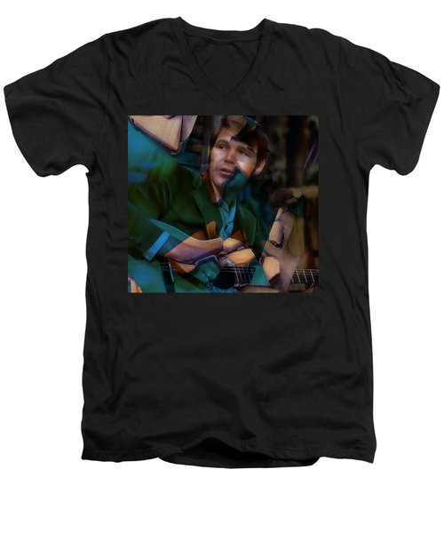 Men's V-Neck T-Shirt featuring the mixed media Glen Campbell Tribute by Marvin Blaine