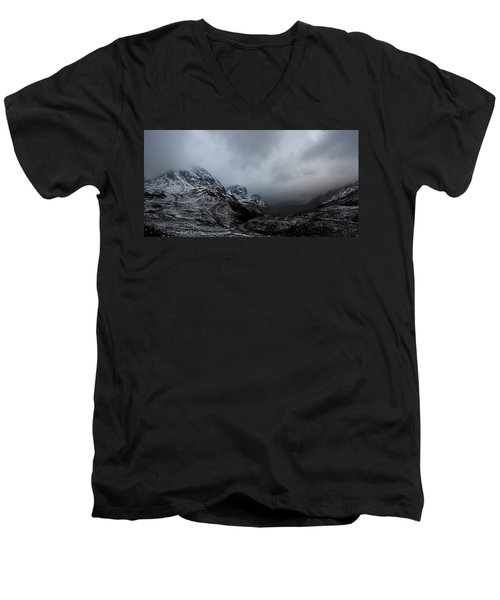 Men's V-Neck T-Shirt featuring the digital art Glencoe - Three Sisters by Pat Speirs