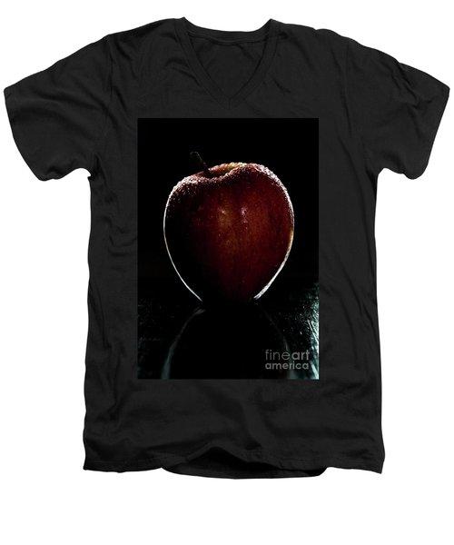 Glistening Red Men's V-Neck T-Shirt by Deborah Klubertanz
