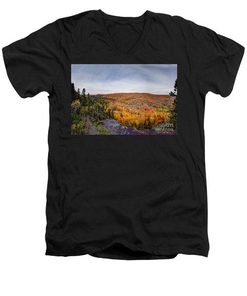 Glorious Autumn Lutsen Mountain Resort North Shore Minnesota Men's V-Neck T-Shirt