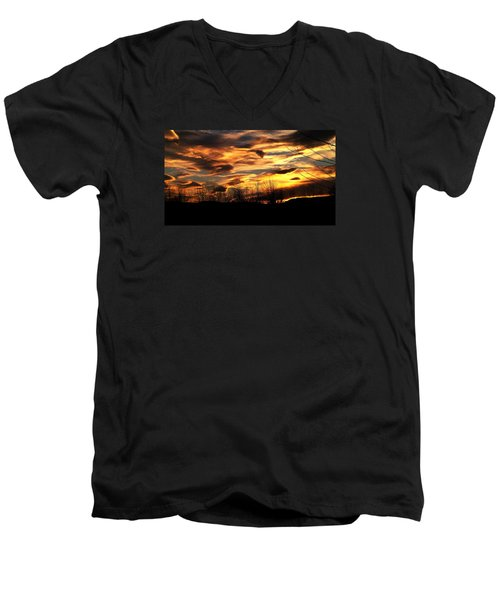 Men's V-Neck T-Shirt featuring the photograph Glorious Maine Sunset by Mike Breau