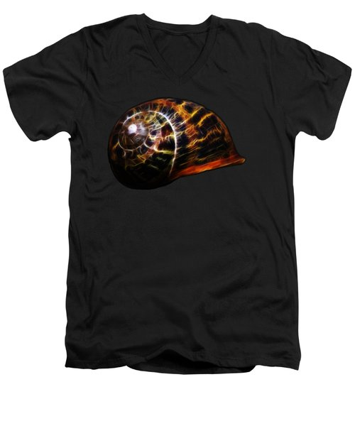 Men's V-Neck T-Shirt featuring the photograph Glowing Shell by Shane Bechler