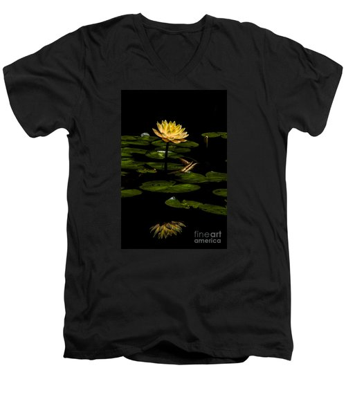Glowing Waterlily Men's V-Neck T-Shirt by Barbara Bowen