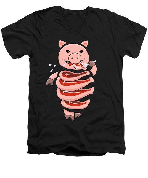 Gluttonous Self-eating Pig Men's V-Neck T-Shirt by Boriana Giormova