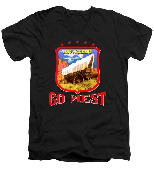Go West Pioneer - Tshirt Design Men's V-Neck T-Shirt
