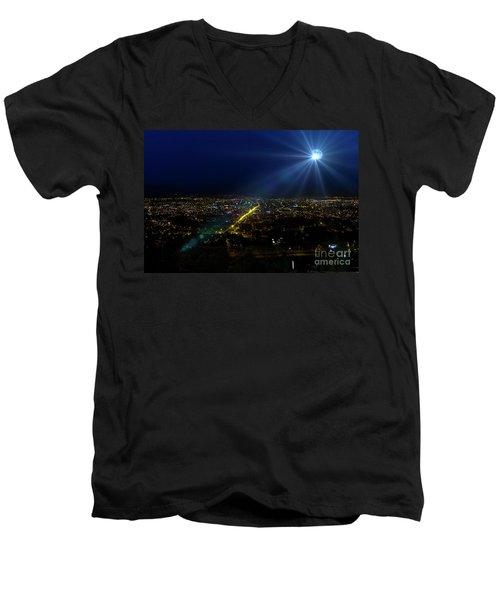 God Loves Cuenca Men's V-Neck T-Shirt by Al Bourassa