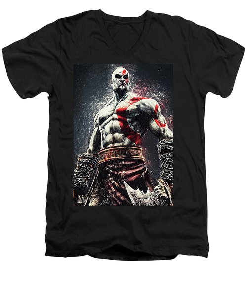 Men's V-Neck T-Shirt featuring the digital art God Of War - Kratos by Taylan Apukovska