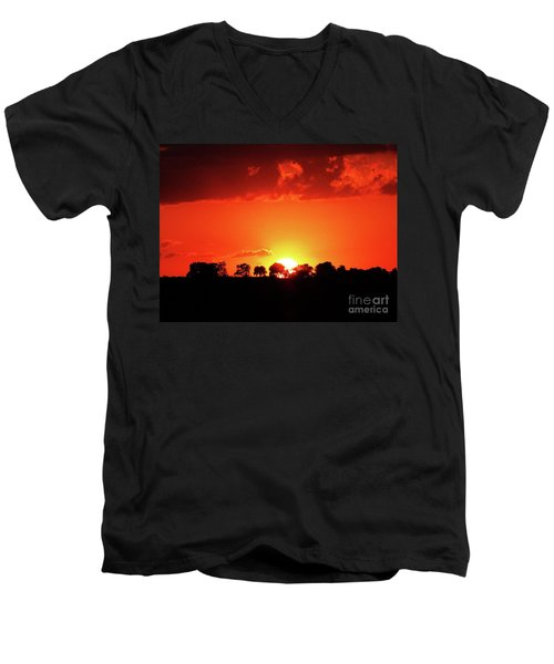 Men's V-Neck T-Shirt featuring the photograph God's Gracful Sunset by J L Zarek