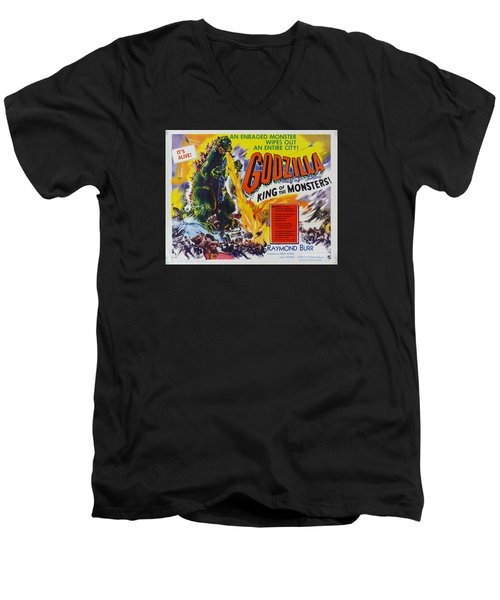 Godzilla King Of The Monsters An Enraged Monster Wipes Out An Entire City Vintage Movie Poster Men's V-Neck T-Shirt