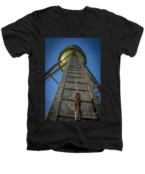 Men's V-Neck T-Shirt featuring the photograph Going Up Mary Leila Cotton Mill Water Tower Art by Reid Callaway
