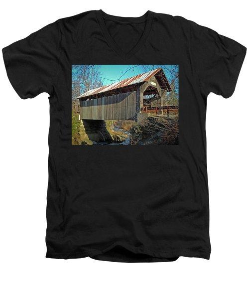 Gold Brook Bridge Men's V-Neck T-Shirt