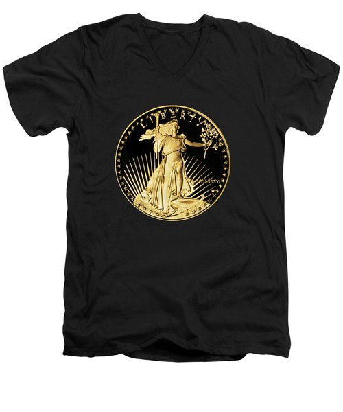 Gold Coin Front Men's V-Neck T-Shirt