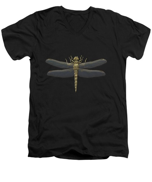 Men's V-Neck T-Shirt featuring the digital art Gold Dragonfly On Black Canvasgold Dragonfly On Black Canvas by Serge Averbukh