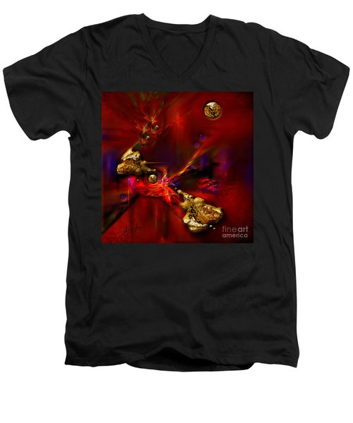 Men's V-Neck T-Shirt featuring the painting Gold Foundry by Alexa Szlavics