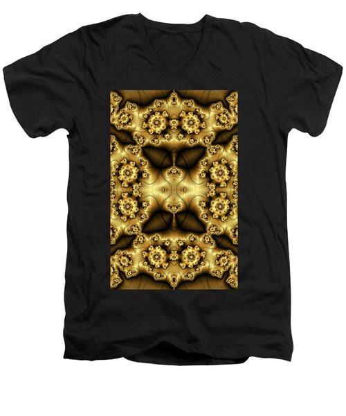 Gold N Brown Phone Case Men's V-Neck T-Shirt by Lea Wiggins