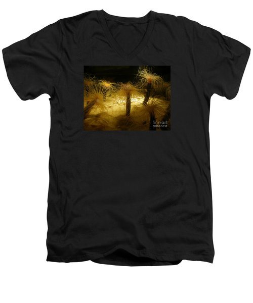 Gold Sea Anemones Men's V-Neck T-Shirt by Bev Conover