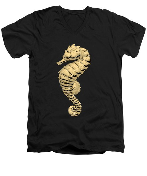 Gold Seahorse On Black Canvas Men's V-Neck T-Shirt