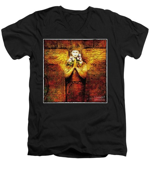 Men's V-Neck T-Shirt featuring the photograph Golden Angel by Craig J Satterlee