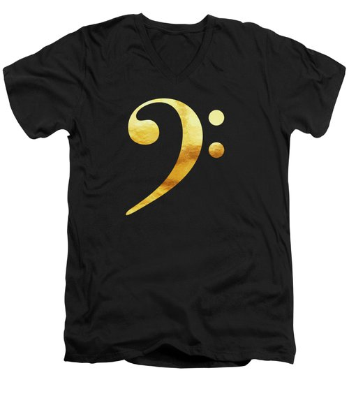 Golden Baseline Beat Bass Clef Music Symbol Men's V-Neck T-Shirt