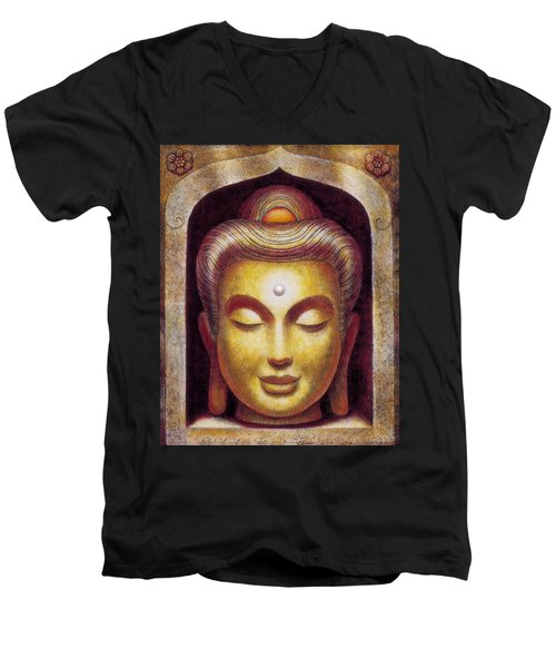 Men's V-Neck T-Shirt featuring the painting Golden Buddha by Sue Halstenberg