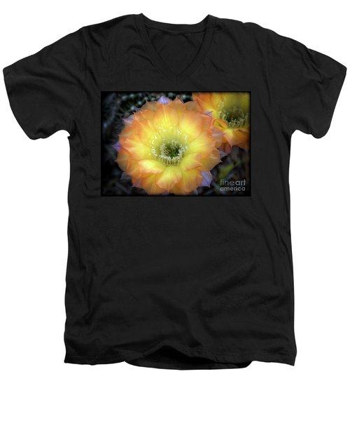 Golden Cactus Bloom Men's V-Neck T-Shirt by Saija  Lehtonen