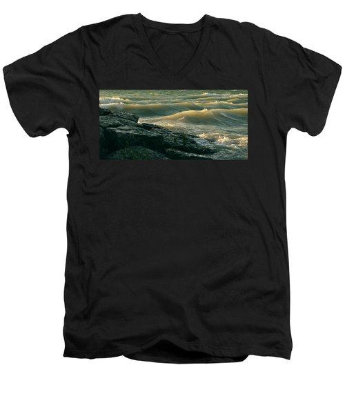 Golden Capped Sunset Waves Of Lake Michigan Men's V-Neck T-Shirt