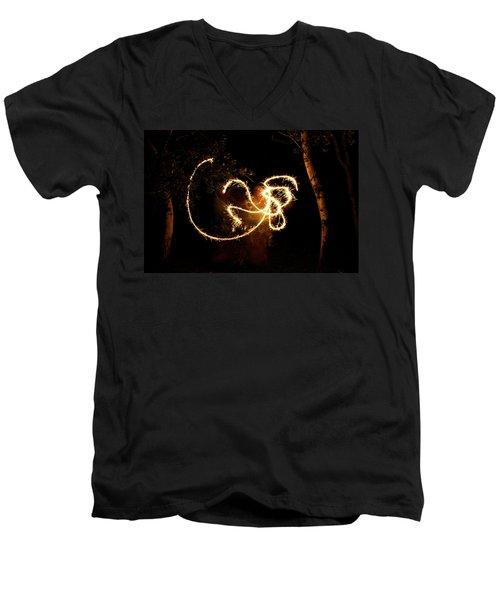 Golden Dragon Men's V-Neck T-Shirt by Ellery Russell