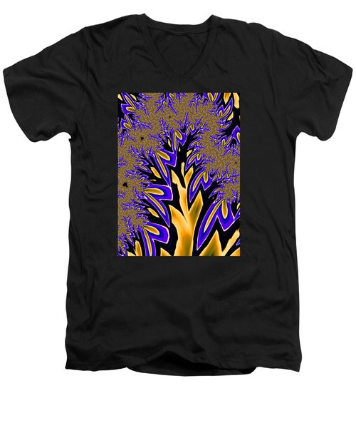 Men's V-Neck T-Shirt featuring the photograph Golden Fractal Tree by Ronda Broatch