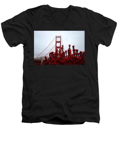 Golden Gate Bridge Red Flowers Men's V-Neck T-Shirt by Matt Harang