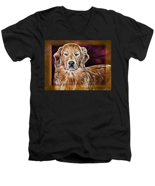 Men's V-Neck T-Shirt featuring the photograph Golden Glowing Retriever by EricaMaxine  Price