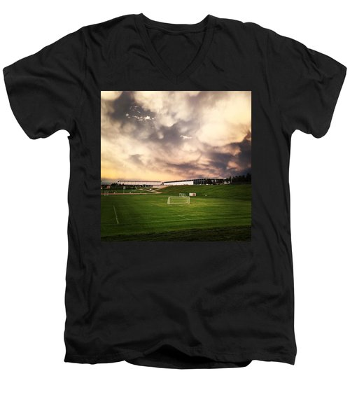 Men's V-Neck T-Shirt featuring the photograph Golden Goal by Christin Brodie