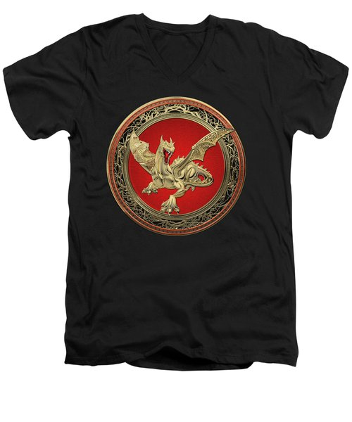 Golden Guardian Dragon Over Black Velvet Men's V-Neck T-Shirt