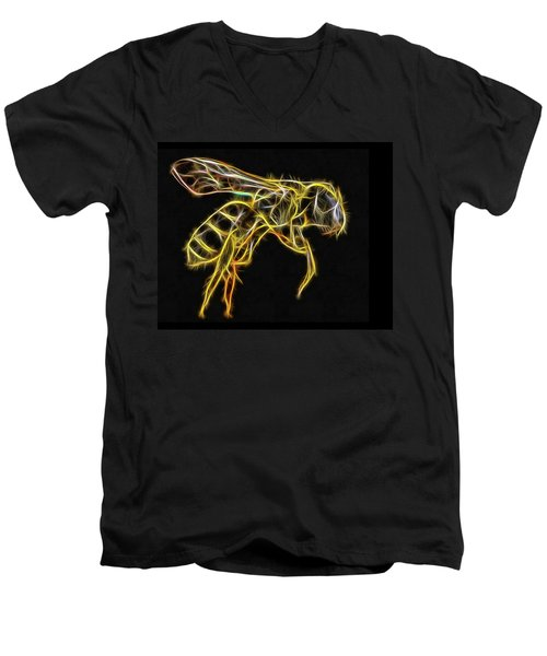 Golden Honey Bee Fractalized Men's V-Neck T-Shirt